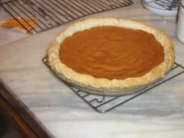 Pumpkin pie made from (*imagine that!) an actual pumpkin~! I LOVE the crust so I always make a BIG  one.