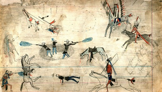 This Plains Nation art is a rendition of the 1874 Red River war in Texas.