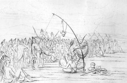 This drawing depicts one form of the Sun Dance that was central in many ways to plains culture. In a return to purity, this dance is now closed to outsiders.