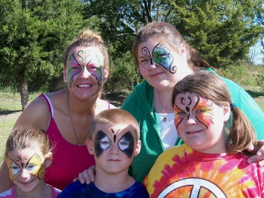 These gals and a guy looked fantastic in their painted faces - and were happy to share their fun!