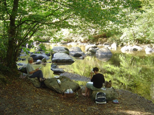 Students on our painting holiday at the Site de Corot, Saint Junien. For more information see info@lestroischenes.com