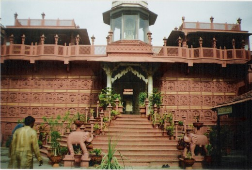 Jain temple at Sanganer-Jaipur(red stone outside, but marble inside)