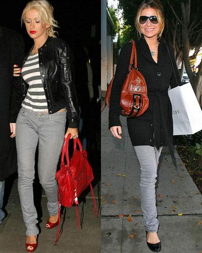 Cristina Aguilera and Carmen Electra wearing skinny jeans