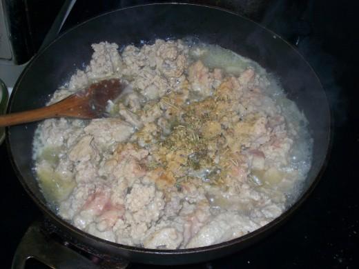 Cooking the Ground Chicken.