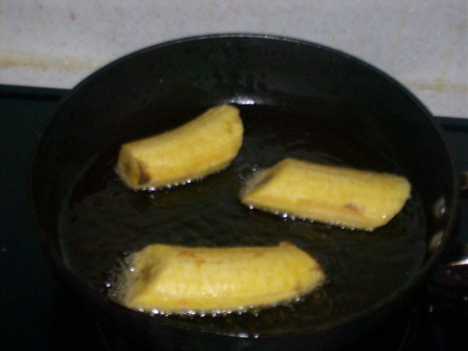 Fry the plantains.