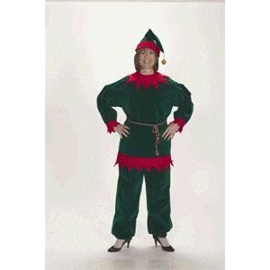Christmas Elf Velvet Suit Adult Costume