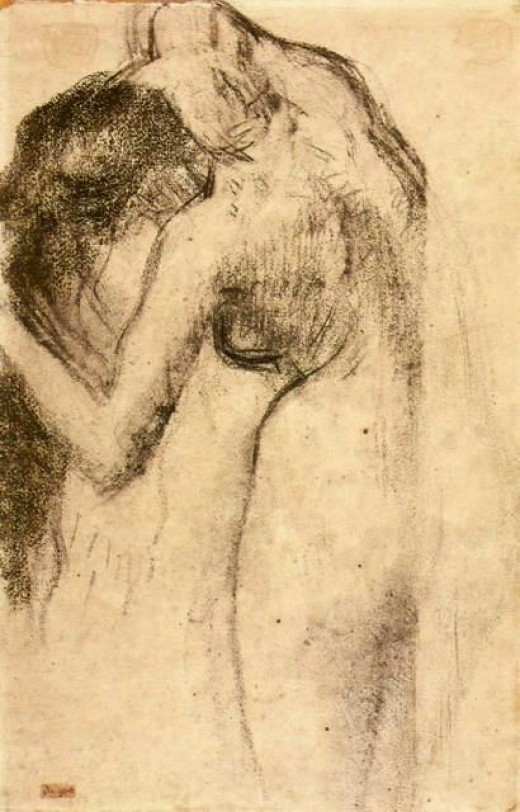 Nude combing her hair By Edgar Degas (18341917)    Charcoal on paper
