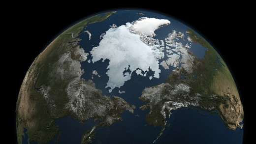 A satellite view of the Arctic Ocean.
