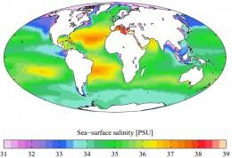 Annual Salinity Chart of Ocean waters.