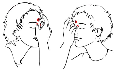 These are the hand positions for the TAT pose.  One hand is place with the ring and index finger lightly touching the corner of eyes and the middle finger touching the center of your forehead (3rd eye).