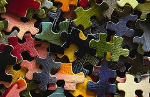 Varied puzzle pieces
