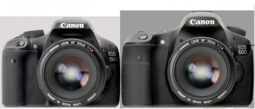Canon 60D vs Canon T2i - The 60D is larger, making it look a bit more professional.
