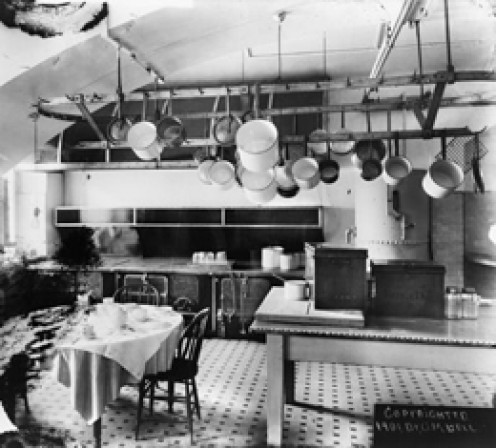 White House Kitchen.  Original copyright 1901, by Dr. G.W. Bell.