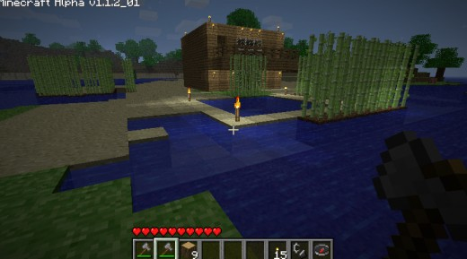 Reeds for privacy, a balcony, floor to ceiling windows and a swimming pool. What more could a minecrafter want?