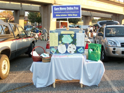 Rent Flea-Market space to advertise online business offline to network in person.