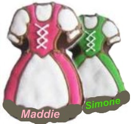 Maddie and Simone's Dirndls ready for their arrival... Their job was to keep filling the beer-steins ---thousands... and many more