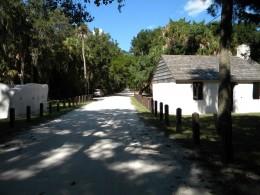 Slave dwellings flank the road : Kingsley Plantation