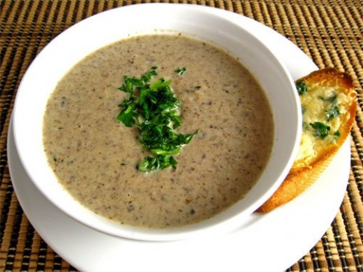 I love mushroom soup made from fresh mushrooms. On a chilly day with hot garlic bread there is nothing better.