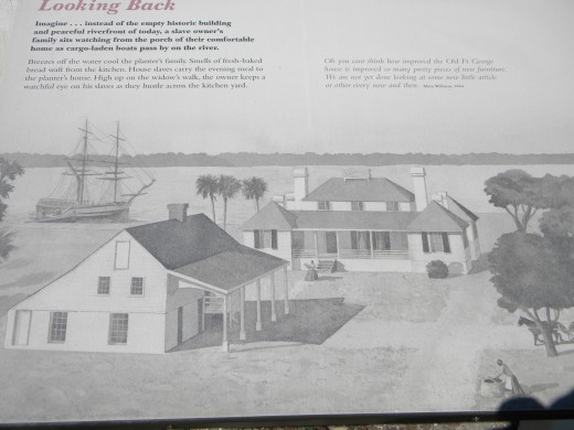 An artist's rendering of Kingsley Plantation during the slavery period