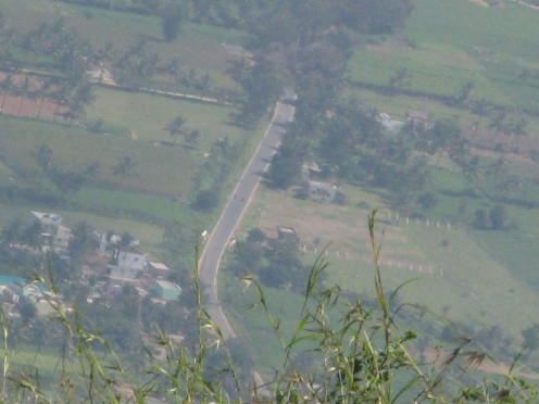 The road you take from Bangalore City viewed from top.