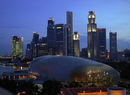 The Esplanade in the foreground. Also affectionately known as the 'durian' for its resemblance to the prickly local fruit. Photo Credit: http://www.flickr.com/photos/besar_bears/7467038/