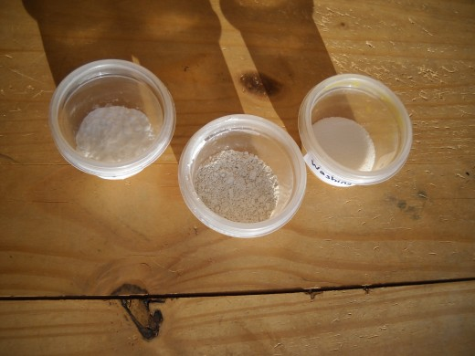From left to right: Baking soda, diatomaceous earth, and washing soda.  You can see how similar and yet how different they are.