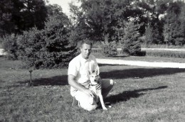 My dad and Sheba as a puppy