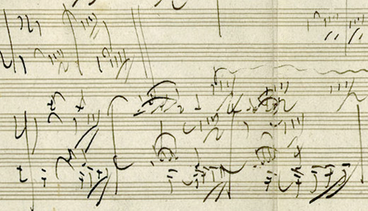 Excerpt from Beethoven's Piano Sonata opus 101, autograph manuscript