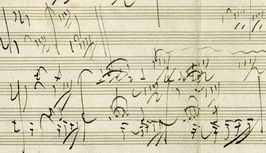 Excerpt from Beethoven's Piano Sonata opus 101, autograph manuscript
