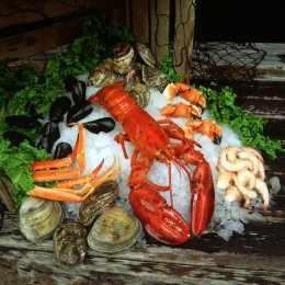 American lobster, crab legs, shrimp, clams, oysters, mussels
