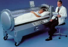 Hyperbaric oxygen therapy device in action