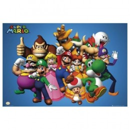 Mario Poster with other Mario characters like Donkey Kong, Waluigi, Luigi, Yoshi, Princess Peach, Bowser and more!