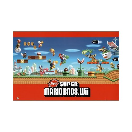 An excellent more modern looking Mario Poster for the New Super Mario Brothers Wii video game with lots of action and great characters in it!
