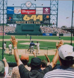 For 5 years, we enjoyed the best seats in the house...FC115, Row F Seat 2...right behind Home Plate  Barry Bonds just hit #644!!