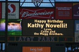 """Birthday announcement on the """"Big Screen."""" That's Moises Alou (Felipe's son) to the left on the screen."""