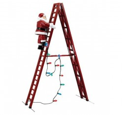 The animated Santa climbs up and down the step ladder.