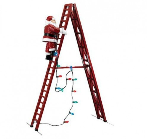 The animated Santa climbs up and down the stepladder.