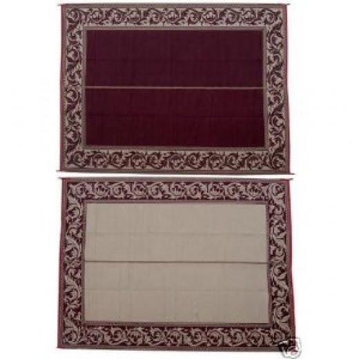 Reversible RV Patio Camping Outdoor Mat Classical - 9x12Burgundy/RA5