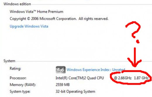 Why the heck is my 2.66 GHz processor showing as 1.87 GHz???