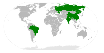 Global Map of BRIC - Brazil Russia India China - in Grey and Green - with Green Showcasing the Growth