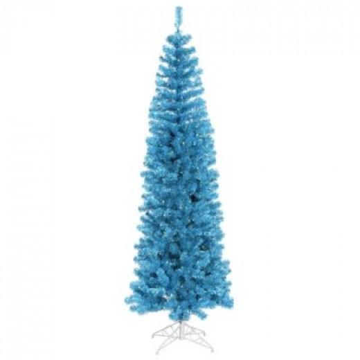 Pencil shaped trees are becoming very trendy, especially colored version trees - blue, red, and white.