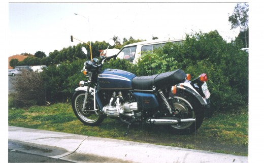 My immaculate 1974 4 cylinder Honda Goldwing. Click to see full size. (copyright)