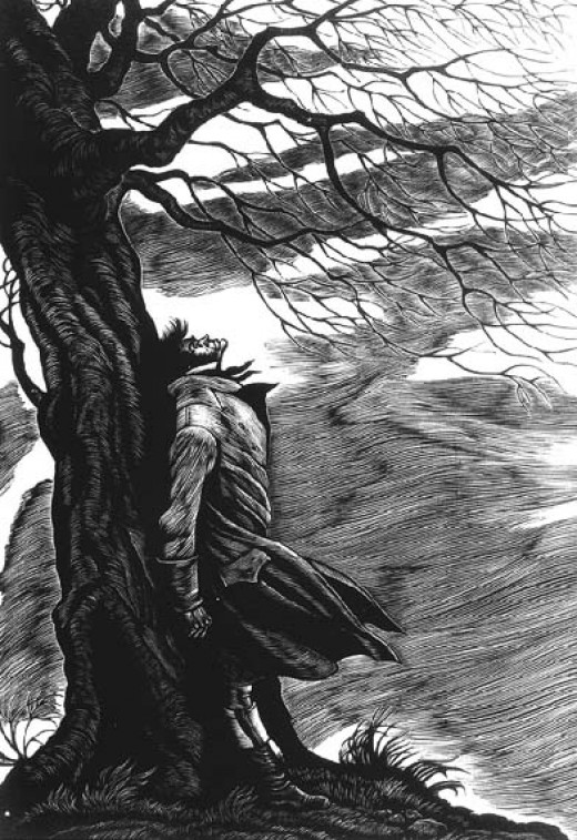 Fritz Eichenberg, Heathcliff Under the Tree, Cover Image from Wuthering Heights, 1943