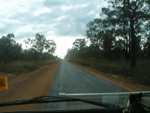 This narrow strip of tar is the easy bit of the Savannah Way - 800km from Cairns to Normanton.