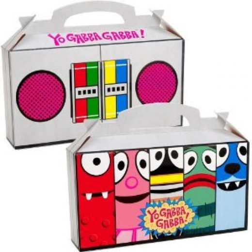 Fill Yo Gabba Gabba favor boxes with some yummy treats for guests. Sold in packs of 4.