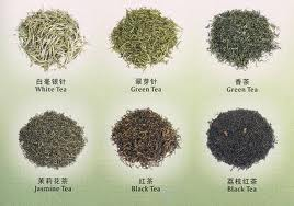 Tea varieties - white tea, black tea, green tea, etc.