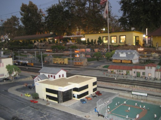 Miniature town centered around a miniature railway at the L A County Fair