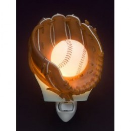 Baseball glove with lighted baseball for a sports themed night light gift