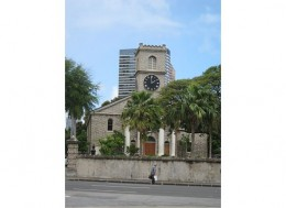 A picture of the Kawaiaha'o Church taken from across the street