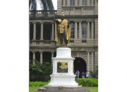 King Kamehameha's Statue located at the Judiciary Building located next door from Kawaiaha'o Church and the Iolani Palace.